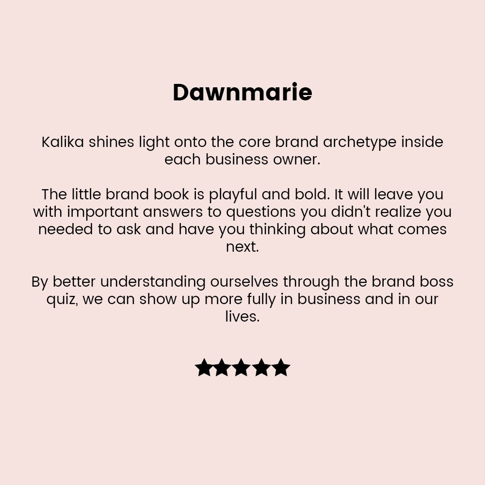 Dawnmarie testimonial for little brand book